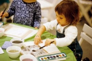 preschool kid painting