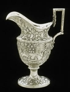 Milk pitcher, marked by Samuel Kirk (1792-1872), Baltimore, Maryland; about 1828. Silver. 1972.297.5 Gift of Dr. and Mrs. W. Tyler Haynes