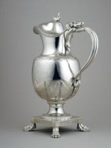silver metal pitcher