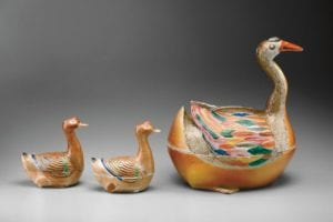 goose and gosling ceramic containers