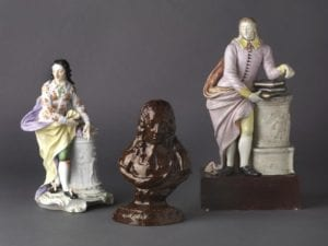 ceramic figures and bust of john milton