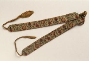 Pair of garters, worked by or for Mary Washington