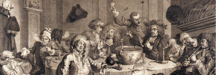 print of A Midnight Modern Conversation- drawing of tavern drinking