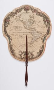 hand fan with map imprint