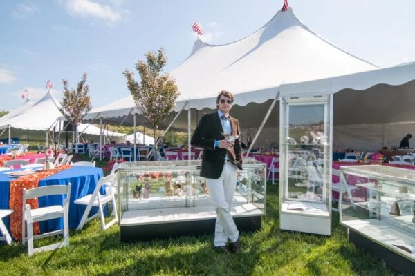 ptp tent display cases and person