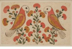 Drawing of two parrots with yellow and red flowers
