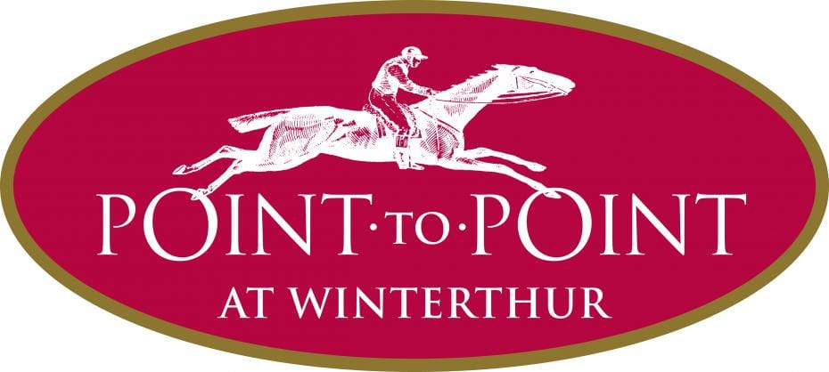 40th Annual Point-to-Point logo, horseback rider on a red background