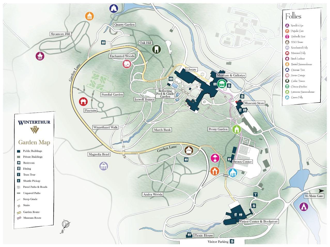 Winterthur Garden Map with Follies