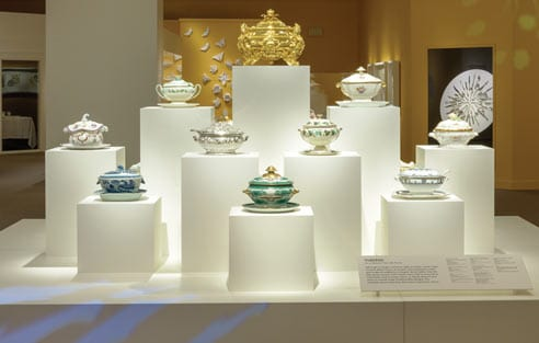 Soup tureens on display in the Dining By Design exhibition.
