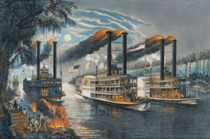Currier & Ives image depicting a race between 3 steamboats.